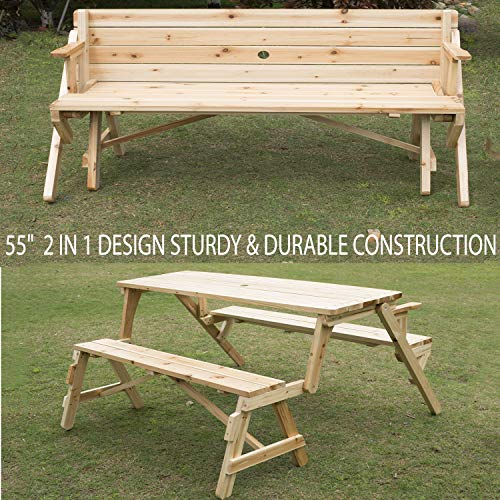 55″ Sturdy & Durable Construction Patio 2 in 1 Outdoor Interchangeable Picnic Table – Compact & Portable Garden Bench Wood with Umbrella Hole for Outdoor Use