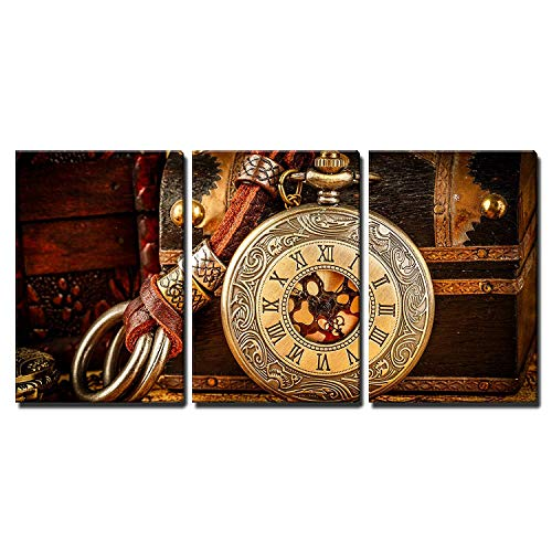 wall26 - 3 Piece Canvas Wall Art - Vintage Antique Pocket Watch. Vintage Grunge Still Life. - Modern Home Decor Stretched and Framed Ready to Hang - 24