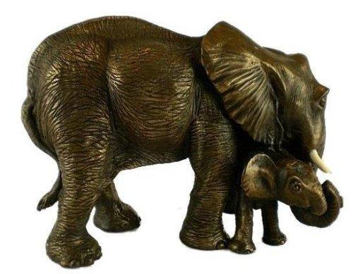 Bronze Wildlife Sculpture Mother & Calf Elephant Statue Perfect Plants