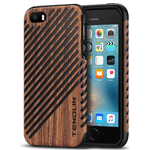 TENDLIN iPhone SE Case Wood Veneer Flexible TPU Silicone Hybrid Good Protection Case for iPhone SE and iPhone 5S 5 (Wood & Leather)