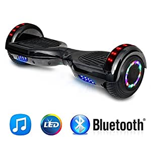 """NHT 6.5"""" Hoverboard Electric Self Balancing Scooter Sidelights - UL2272 Certified Black, Blue, Pink, Red, White (Black)"""