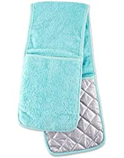DII Cotton Terry Oven Mitts, 7 x 13 Set of 2, Heat Resistant and Machine Washable Kitchen Gloves for Cooking and Baking-Eggplant