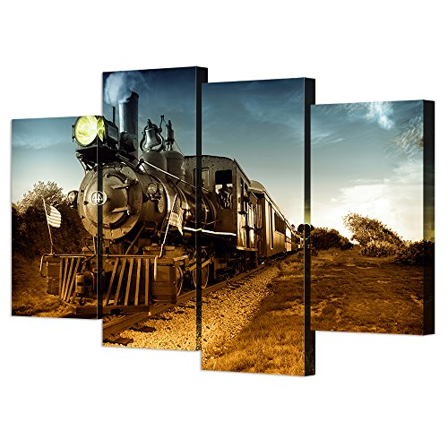 Train Engine Canvas (VVOVV Wall Decor - Steam Train Canvas Wall Art Giclee Print Vintage Posters Landscape Pictures Modern Painting Large Framed Artwork Home Decor)