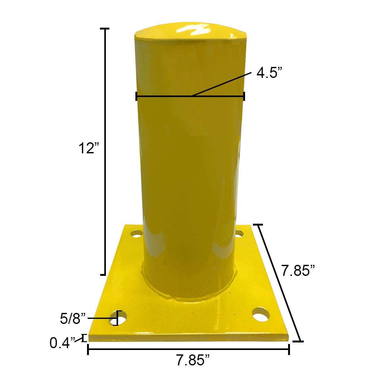 12 Height - 4.5 OD Electriduct 1 Foot Steel Pipe Safety Bollard Post Yellow//Black Stripe Parking Lot Traffic Barrier - Pack of 2