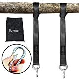 Exptool Tree Swing Hanging Kit Straps - 10ft Holds 2200 lbs Pack of 2, Outdoor Swing Straps with Carabiner Hooks, Perfect for Hanging Any Hammocks Tire and Saucer Swings