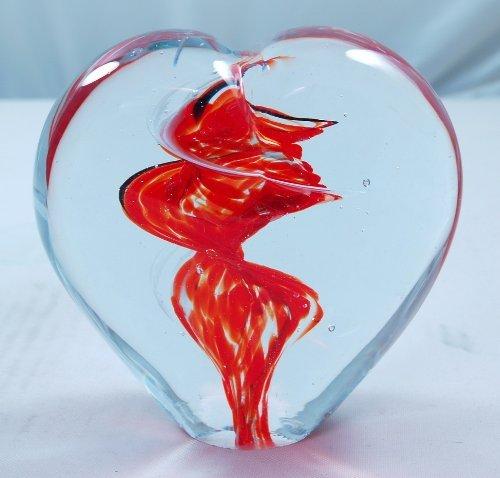 M Design Art Handcraft Ruby Red Lovely Heart Handmade Art Glass Paperweight XL Glass Ruby Heart