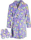 Sleep & Co Big Girls Fleece Robe Slippers Set, Purple Hearts, 14/16'