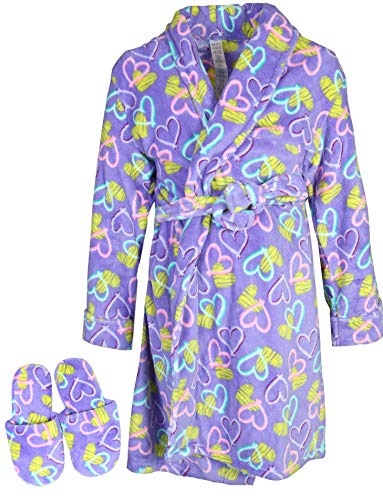 Set Lounge Heart (Sleep & Co Big Girls Fleece Robe with Slippers Set, Purple Hearts, 6')