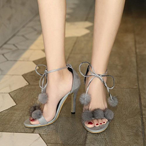 bolas dedo fino Band de de correas Señoras banda pie altos tacones One del del Puffer gray Rocío Word sistema sandalias talón cruzadas XIE O81Uqpw1