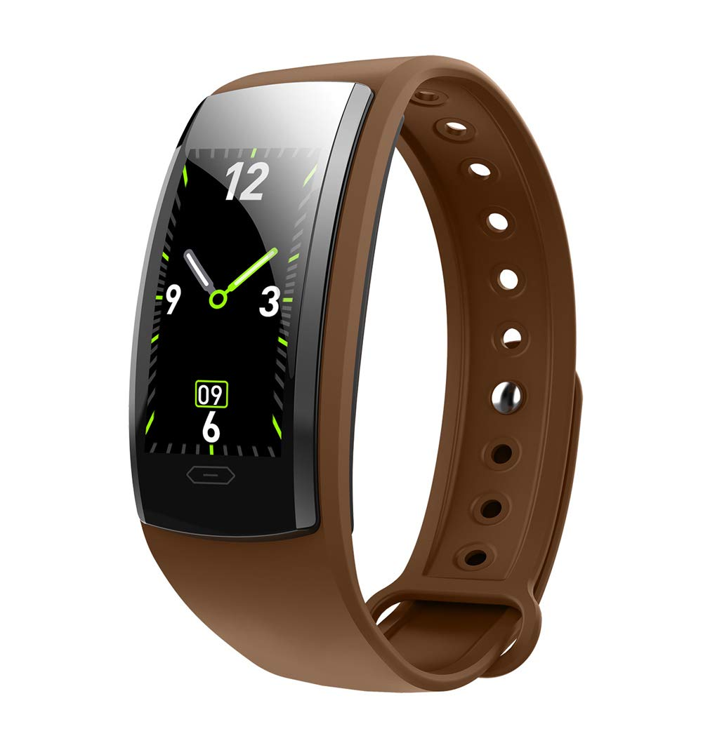 YANGYA Smart Bracelet, Fitness Watch Activity Tracker Ip67 Waterproof, Step Calorie Counter 14 Sport Mode Sleep Monitor for Android iOS Phone-Brown by YANGYA