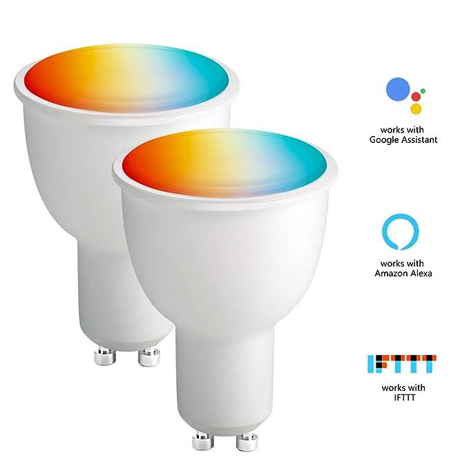 BrizLabs GU10 LED Smart WiFi Lampe, 2 Pack 4,5W RGB Dimmbar WLAN Lampen Intelligente Mehrfarbig Warmweiß 2700K Glühbirnen, Ar