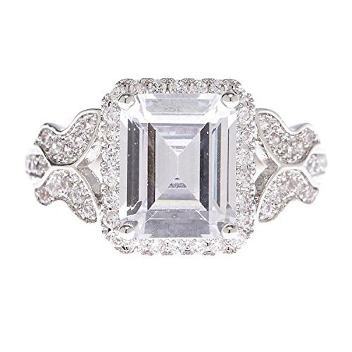 Cubic Zirconia Rhodium Brass Ring - Center Emerald Cut Feminine Ring - Pavilion of rectangular facets - Surrounding with Petite Cubic Zirconia stones - Feminine butterfly shape on the band - Brass finished with genuine rhodium (5)