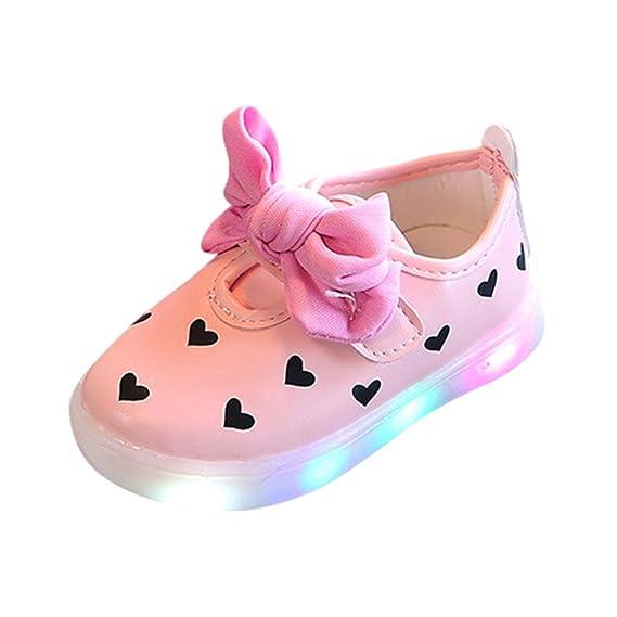 Prewalker Zapatos Bebés Niñas Zapatos Ligeros LED Sandalias de Patrón de Corazón Bowknot Zapatos de Moda de 2018 ❤️Lonshell: Amazon.es: Ropa y accesorios