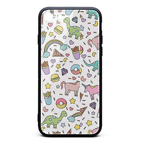 Phonerebey iPhone 7/8 Case,Unicorns Dinosaurs Donuts Burgers and Fries Anti-Scratch Shockproof Slim Cover Case Compatible with Apple iPhone 7/8 Case,TPU and Tempered Glass