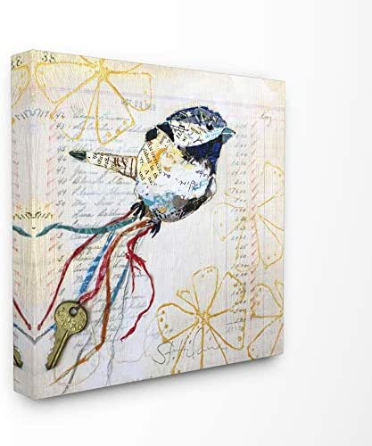 Stupell Industries Bird Notes Collage Textured Animal Design Canvas Wall Art, Multi-Color