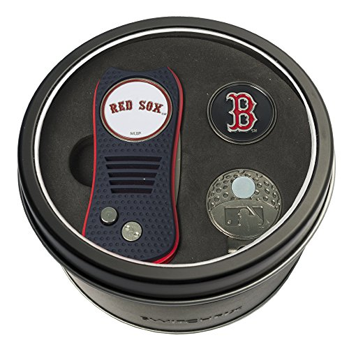 Team Golf MLB Boston Red Sox Gift Set Switchblade Divot Tool, Cap Clip, & 2 Double-Sided Enamel Ball Markers, Patented Design, Less Damage to Greens, Switchblade Mechanism ()