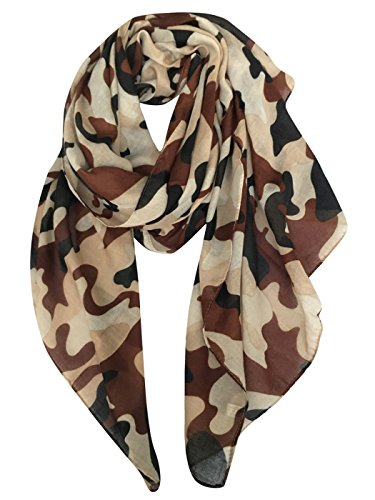 GERINLY Scarves - Lightweight Travel Scarf Camouflage Print Shawl Wrap (Cappuccino)