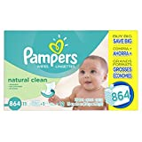 Pampers Natural Clean Wipes 12x Box including Tub, 864 Count