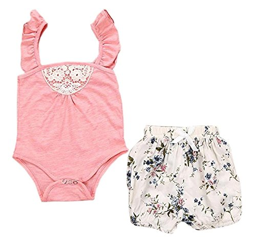 Mini honey Toddler Baby Girls Sleeveless Lace Romper Outfit Clothes Jumpsuit+ Floral Short Pants (12-18 Months, (Pink Baby Girl Outfit)
