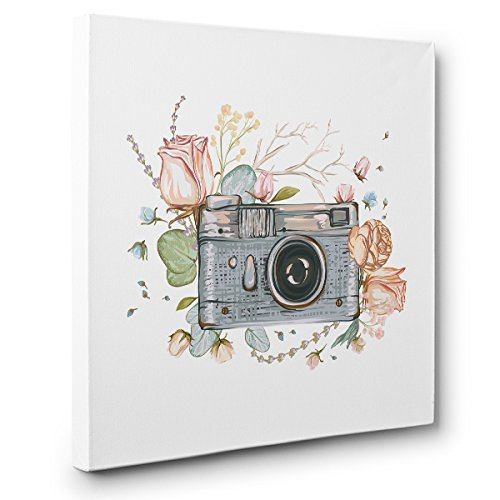 Camera with Flowers PHOTOGRAPHY CANVAS Wall Art Home Décor by Paper Blast