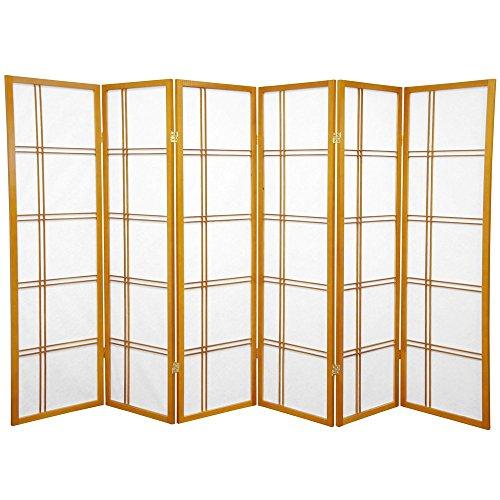 Oriental Furniture 5 ft. Tall Double Cross Shoji Screen - Honey - 6 Panels (Furniture Quality Rubberwood)