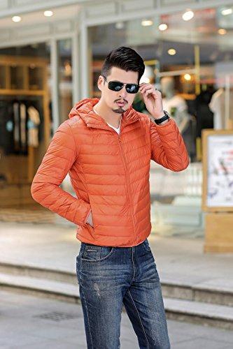 Di Uomini Con Striscia Cappotto Imbottito Quibine Cappuccio Leggero Pianura Arancione Caldo Piumino RqS1wH1