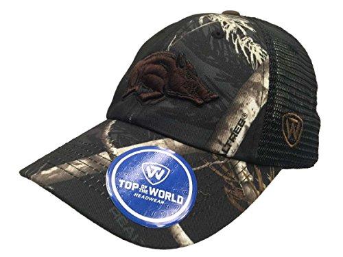 Top of the World Arkansas Razorbacks Tow Black Realtree Camo Harbor Mesh Adjustable Snap Hat Cap
