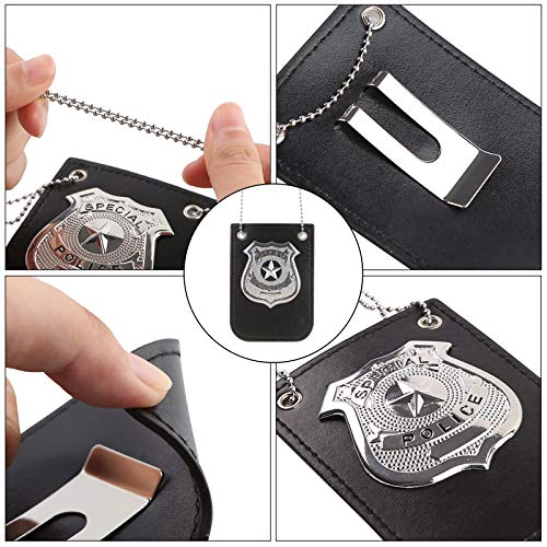 3 otters Police Pretend Play Toy Set, Metal Handcuffs Police Badge 2PCS Police Set for Kids Police Cosplay Dress Up Boy Girl Gift Black