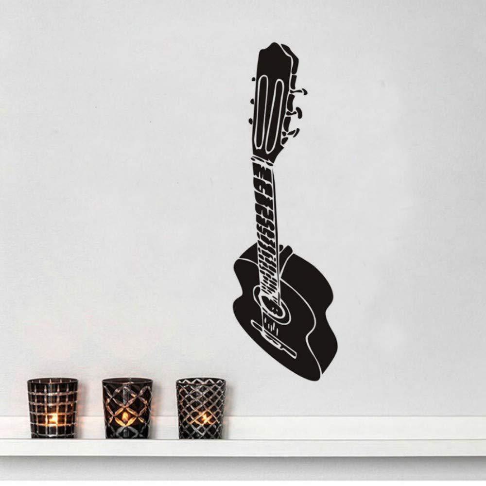Etiqueta De La Pared Diseño De Arte Guitarra Silueta Decoración ...