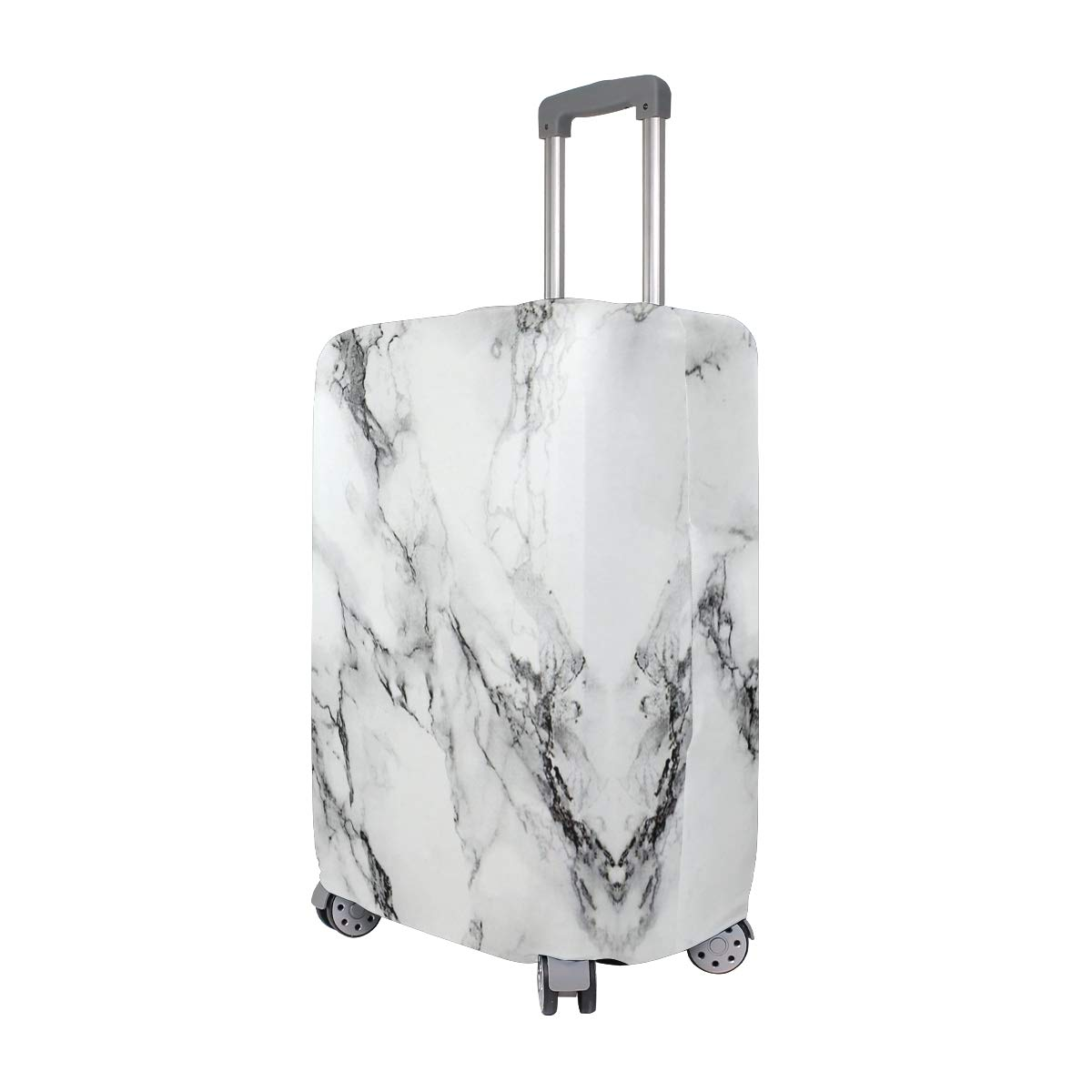 White Marble Design Travel Suitcase Protector Zipper Suitcase Cover Elastic