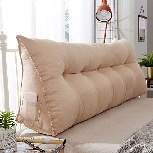 Corduroy Upholstered Triangular Wedge Cushion,Sofa Bed Reading Pillow Wedge Backrest Positioning Support Pillow Cushion Lumbar Pad-Chamois 120x20x50cm(47x8x20inch)