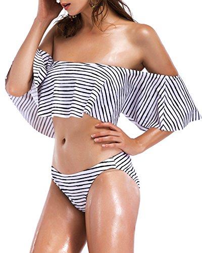 BELLEZIVA Swimsuit Women Bathing Suit Ruffle Tankini Off Shoulder Flounce Monokini Bandeau Striped Bikini by BELLEZIVA