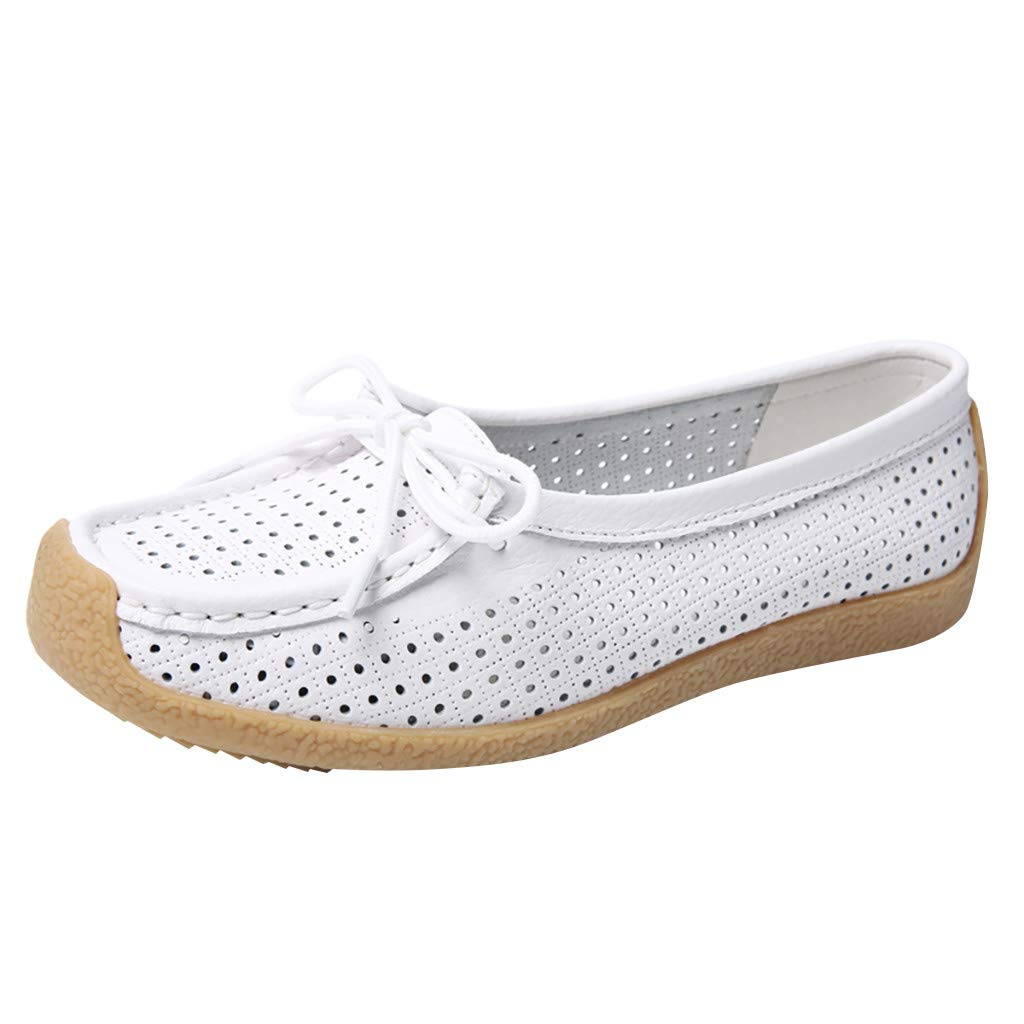 Dermanony Womens Leather Loafers Slip On Flats Casual Round Toe Moccasins Wild Breathable Comfortable Driving Soft Shoes White by Dermanony _Shoes