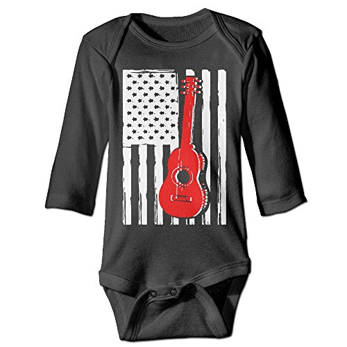 ScotchBlue Guitar US Flag Guitar Lover Autumn Long Sleeve Infant Baby's Toddler Climb Jumpsuit | Crawling Clothes