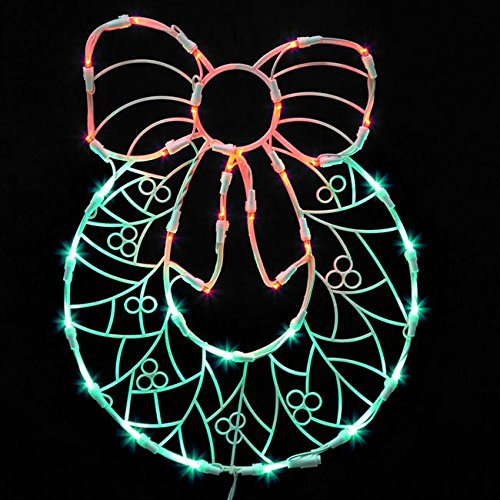 Vickerman Lighted LED Wreath with Bow Christmas Window Silhouette Decoration, 17
