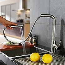Homelody Ausziehbar Küchenarmatur mit Brause Wasserhahn Küche in Matt Mischbatterie Spültischarmatur Spüle Spültisch Spülbecken Armatur fürKüche