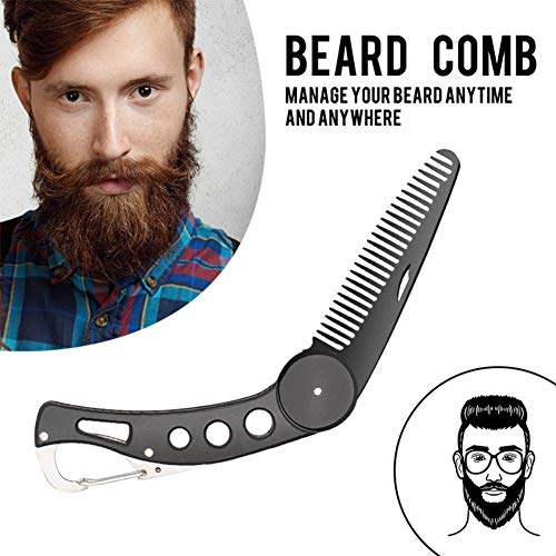 Stainless Steel Beard Comb Folding for Men,Taykoo Beard and Mustache Styling Comb Folding Pocket Mental Comb