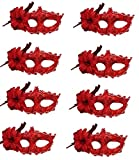 CISMARK Masquerade Mask for Women,Handmade Lace Diamante Mask,Halloween Mask,Red,One Size (Pack of 8)