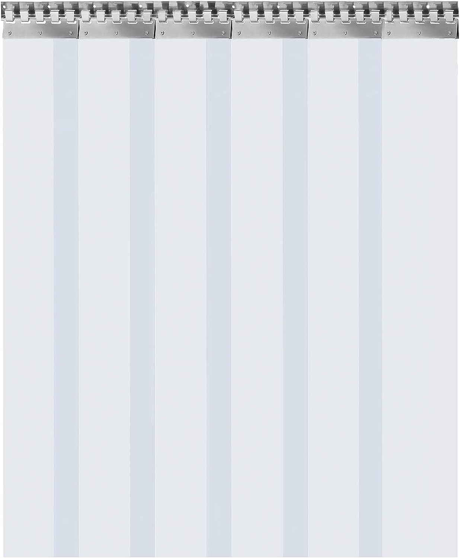 VEVOR Cortina Puerta PVC Transparente Impermeable 5-19 Tiras Total, Material Impermeable Transparente PVC, Cortina Puerta PVC Ancho Total 1-3m para Tiendas, Casas, Fábricas (6PCS/1.5m*2.25m*3mm)