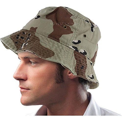 - Mens 100% Cotton Fishing Hunting Summer Bucket Cap Hat (L/XL, Desert Camo)