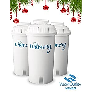 Water Filter Replacement 3-Pack. Fits Wamery and Brita Pitcher. Ionizer and Purifier Cartridge system. NSF ANSI Certified. Reduce Chloride, hard metals from kitchen faucet. (NEUTRAL: Stone)