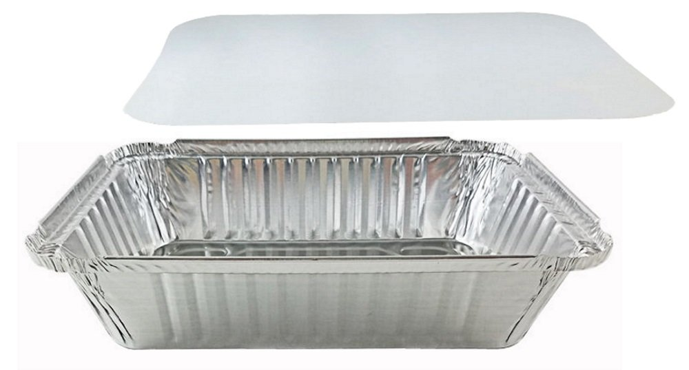 Pactogo 2 1/4 lb. Oblong Deep Aluminum Foil Take-Out Pan with Board Lid Disposable Containers 8.44'' x 5.94'' x 1.81'' (Pack of 500 Sets)