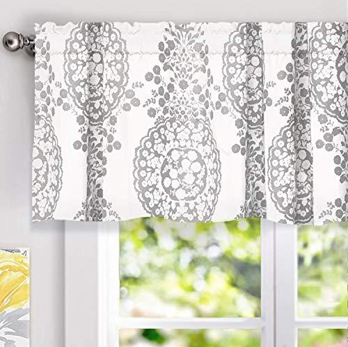 "Samantha Window Treatment Valance, Floral/Damask Medallion Pattern, Rod Pocket, 52""x18"" (Gray)"