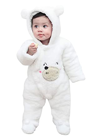3d20c6b84 Amazon.com  krafbean Baby Toddler Kids Winter Hooded Rompers Thick ...
