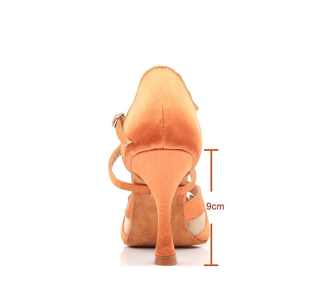 MGM-Joymod Womens Flared Heel Peep Toe Mesh Satin Salsa Tango Character Wedding Dance Shoes