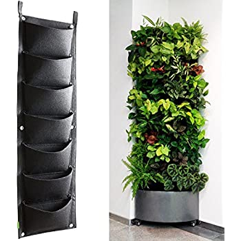 KORAM 7 Pockets Vertical Garden Wall Planter Living Hanging Flower Pouch Green Field Pot Felt Indoor Outdoor Mount Balcony Plant Grow Bag For Herbs