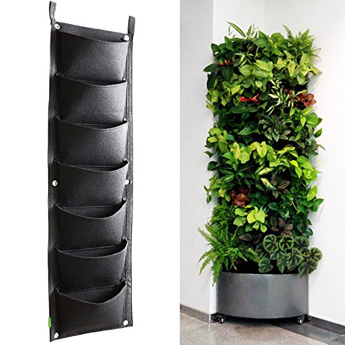 KORAM 7 Pockets Vertical Garden Wall Planter Living Hanging Flower Pouch Green Field Pot Felt Indoor/Outdoor Wall Mount Balcony Plant Grow Bag Herbs Vegetables Flowers (10pcs Plant Tags) - Patio Herb Garden