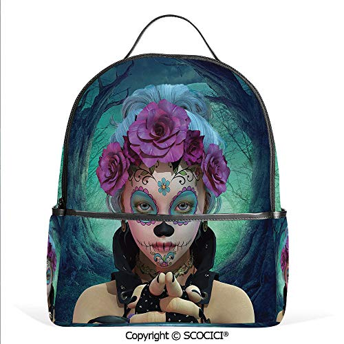 3D Printed Pattern Backpack Scary Clown like Girls Showing her Hands with Gloves an Flowers in Her Print,Multicolor,Adorable Funny Personalized Graphics]()