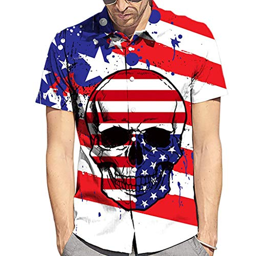 Haluoo Men's Short Sleeve Button Down Aloha Shirt American Flag T-Shirt Vintage Patriotic Shirts Hipster Hip Hop Tee Shirt 3D Graphics Printed Hawaiian Shirt (Small, Skull)