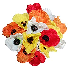 En Ge 10 Stems Mini Artificial Poppies Real Touch Fake Latex Flowers for Bridal Wedding Bouquet Home Kitchen Desktop Party Decor 3
